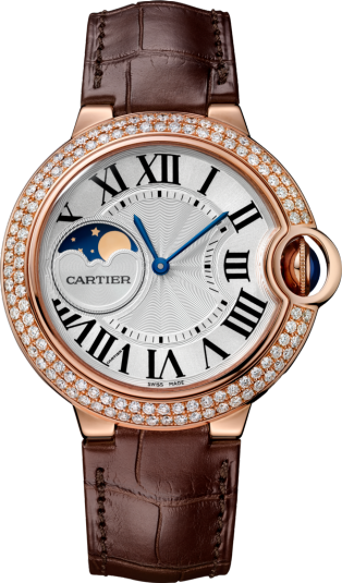 Ballon Bleu de Cartier watch 37mm, automatic movement, rose gold, diamonds, leather