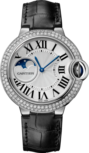 Ballon Bleu de Cartier watch 37mm, automatic movement, white gold, diamonds, leather