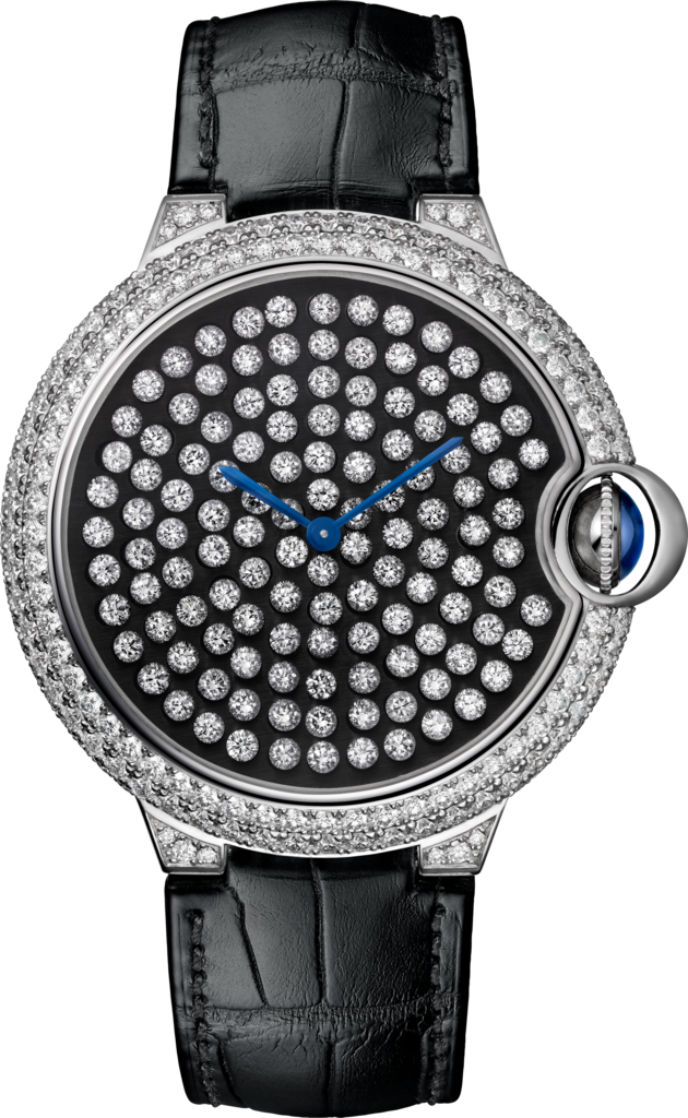 Ballon Bleu de Cartier watch42mm, hand-wound mechanical movement, white gold, diamonds, leather