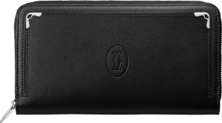 Must de Cartier zipped international wallet Black calfskin, palladium finish