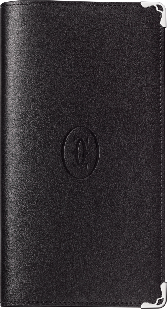 LM Must de Cartier pocket diaryBlack calfskin, palladium finish