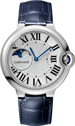 Ballon Bleu de Cartier watch 37mm, automatic movement, steel, leather