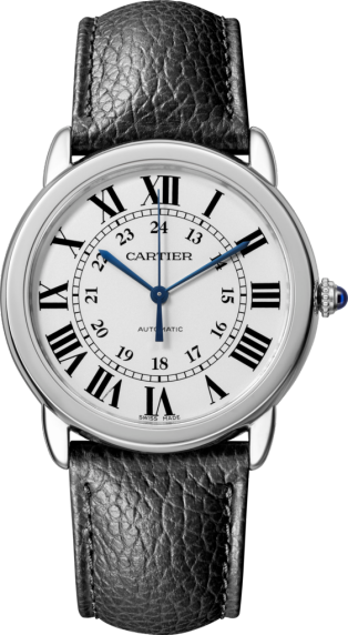 Ronde Solo de Cartier watch 36mm, automatic movement, steel, leather