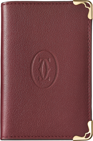 Must de Cartier card holder Burgundy calfskin, golden finish