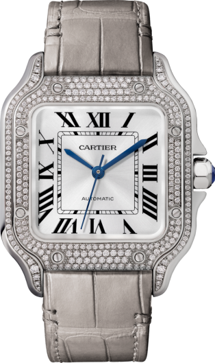 Montre Santos de Cartier Moyen modèle, mouvement automatique, or gris, diamants, 2 bracelets cuir interchangeables