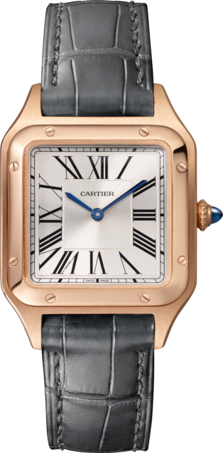 Santos-Dumont watch Small model, quartz movement, rose gold, leather