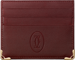 Must de Cartier simple 6-credit card holder Burgundy calfskin, golden finish