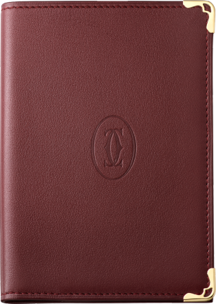 Must de Cartier passport holder Burgundy calfskin, golden finish