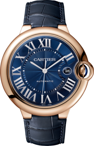 Ballon Bleu de Cartier watch 42mm, automatic movement, rose gold, leather
