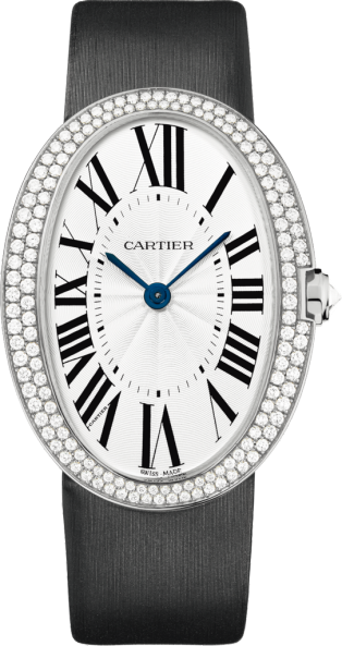 Baignoire watch, large model Large model, hand-wound mechanical movement, white gold, diamonds, canvas