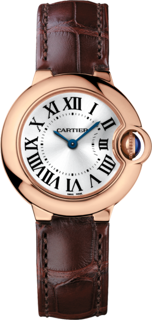 Montre Ballon Bleu de Cartier 28mm, mouvement quartz, or rose, cuir