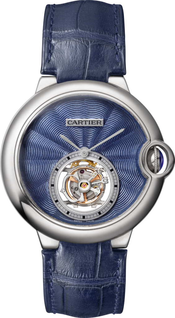 Montre Ballon Bleu de Cartier Tourbillon Volant39 mm, or gris, cuir