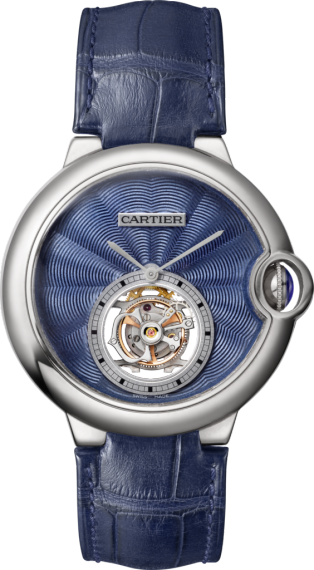 Montre Ballon Bleu de Cartier Tourbillon Volant 39 mm, or gris, cuir