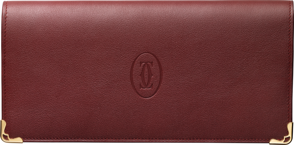 Must de Cartier international wallet with gussetsBurgundy calfskin, golden finish