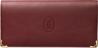 Must de Cartier international wallet with gussets Burgundy calfskin, golden finish