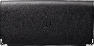 Must de Cartier international wallet with gussets Black calfskin, stainless steel finish