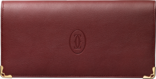 Must de Cartier zipped international wallet Burgundy calfskin, golden finish