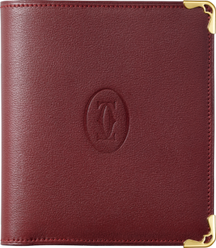 Must de Cartier multiple wallet Burgundy calfskin, golden finish