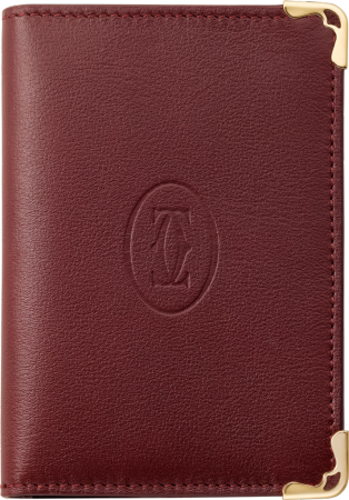 Must de Cartier credit/business card holder Burgundy calfskin, golden finish