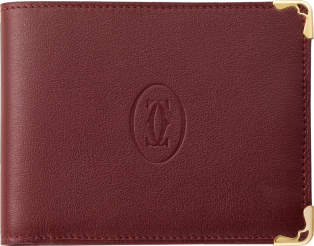 Must de Cartier coin/banknote/credit card wallet Burgundy calfskin, golden finish