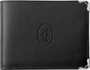 Must de Cartier coin/banknote/credit card wallet Black calfskin, stainless steel finish