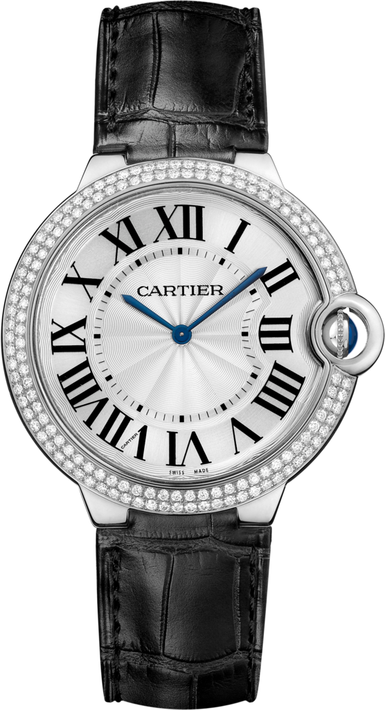 Ballon Bleu de Cartier watch40mm, hand-wound mechanical movement, white gold, diamonds