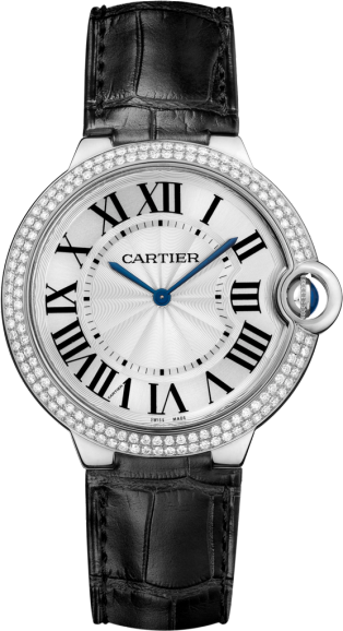 Ballon Bleu de Cartier watch 40mm, hand-wound mechanical movement, white gold, diamonds