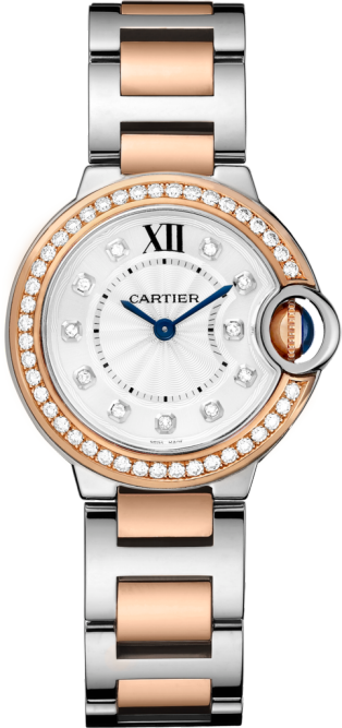 Ballon Bleu de Cartier watch 28mm, quartz movement, rose gold, steel, diamonds