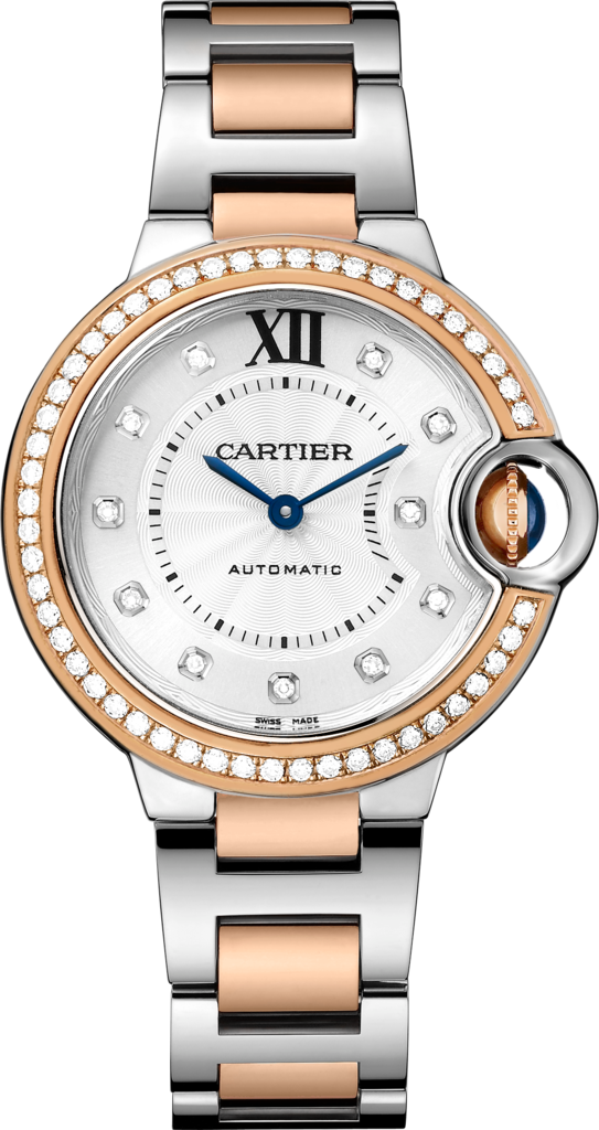 Ballon Bleu de Cartier watch33mm, automatic movement, rose gold, steel, diamonds