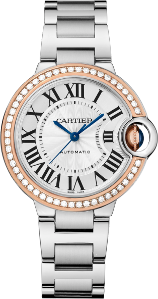 Ballon Bleu de Cartier watch 33mm, automatic movement, rose gold, steel, diamonds