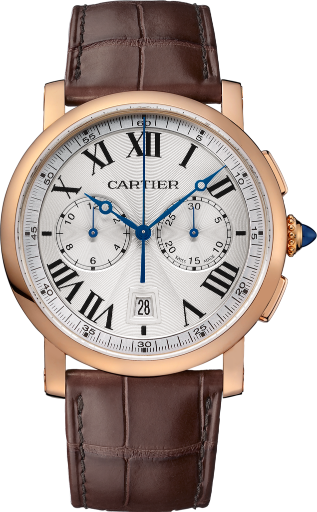 Rotonde de Cartier Chronograph watch40mm, automatic movement, rose gold, leather