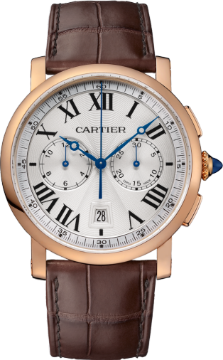 Rotonde de Cartier Chronograph watch 40mm, automatic movement, rose gold, leather